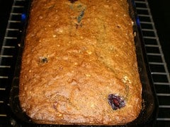 Banana oat blueberry bread