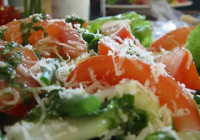 simple salad with cheese dressing